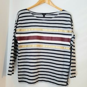 JCrew Maroon and Gold Striped Top